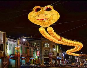 巨型蛇形灯笼点亮新加坡的中国城
