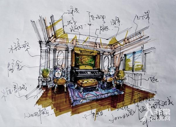 一层客厅钢琴区手绘