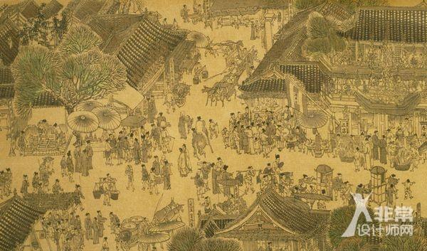手绘古代市井建筑