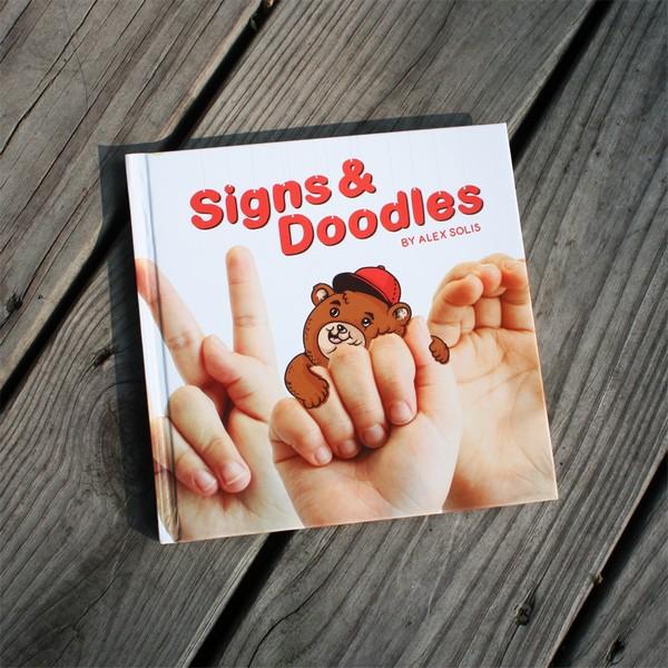 手语字母上的俏皮动物漫画