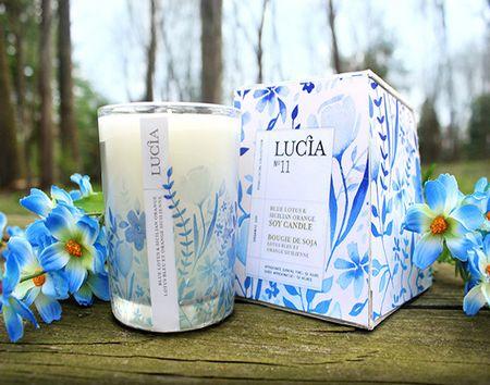 """蓝色的花卉""""海洋""""——Lucia蜡烛包装设计"""