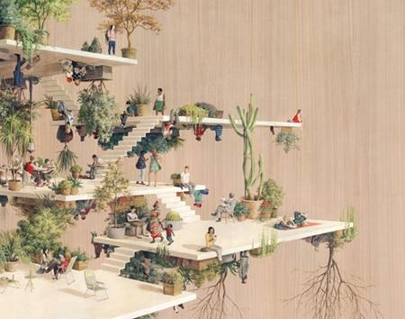 Cinta Vidal绘画城市:引力
