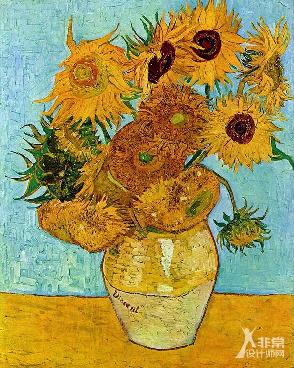 静物:花瓶中的12朵向日葵
