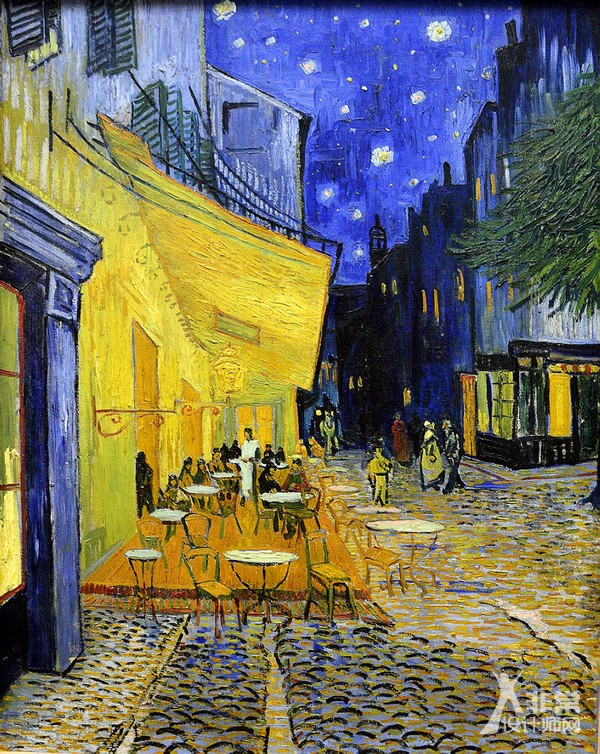 夜晚的露台咖啡馆