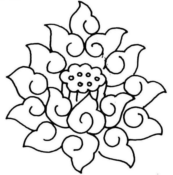 花苞,叶片的完美变形,经过艺术加工组合而成的图案纹样.图片