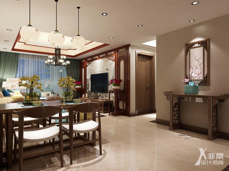 《现代中式》扬州香榭里106平中式风格3居室装修设计图