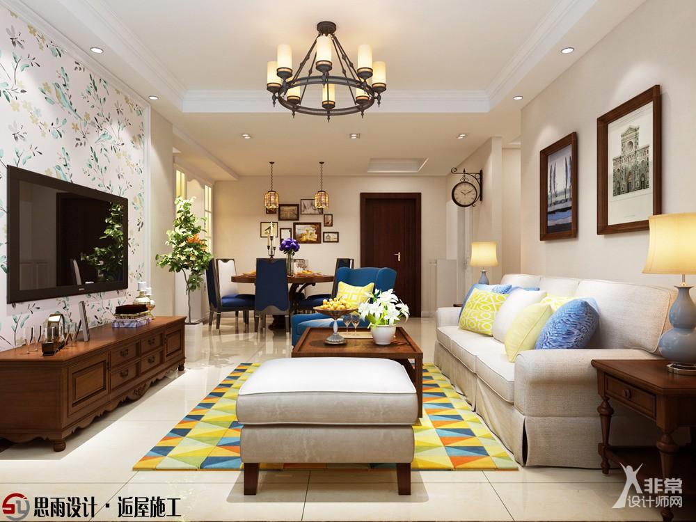 【思雨设计&逅屋施工】《恬静》扬州香榭里106平美式风格3居室装修设计图