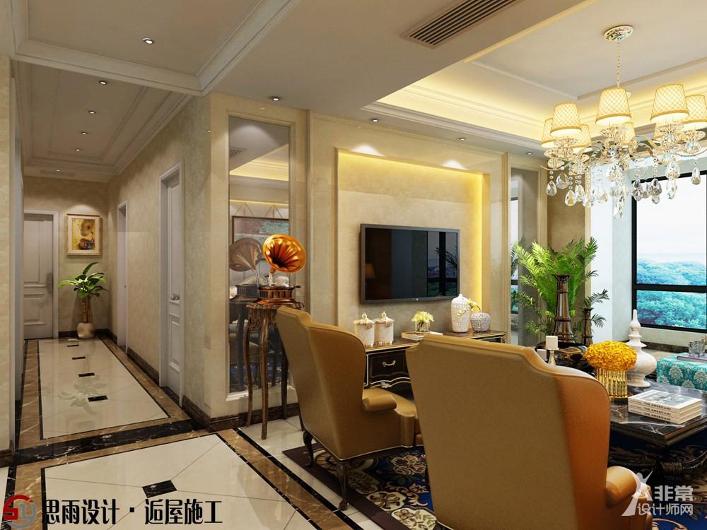 【思雨设计&逅屋施工】《都市奢华》扬州雅居乐178平欧式风格4居室装修设计案例