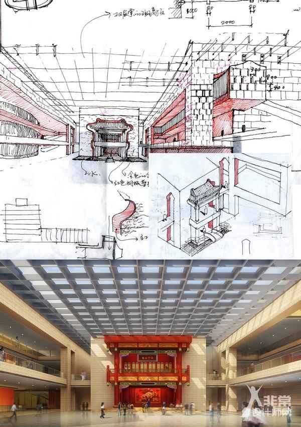 北京天桥艺术中心主入口大厅中古戏楼手绘草图和效果图