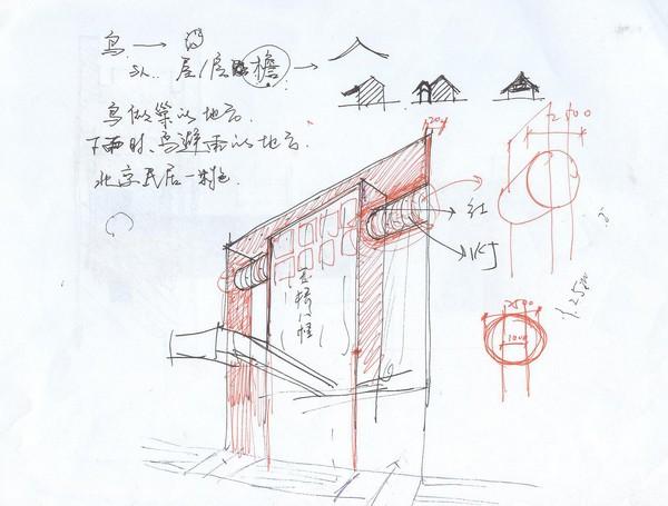 北京天桥艺术中心文化内街手绘草图