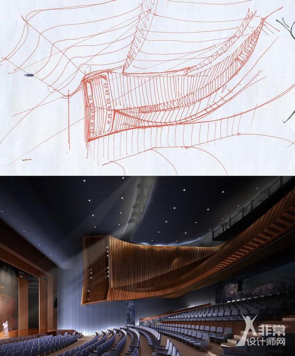 北京天桥艺术中心文化1000座剧场手绘草图和效果图