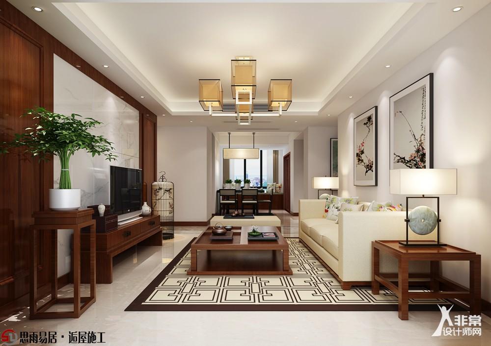 《东方情韵》扬州128平3居室新中式风格装修设计案例【北京思雨易居&扬州逅屋施工】