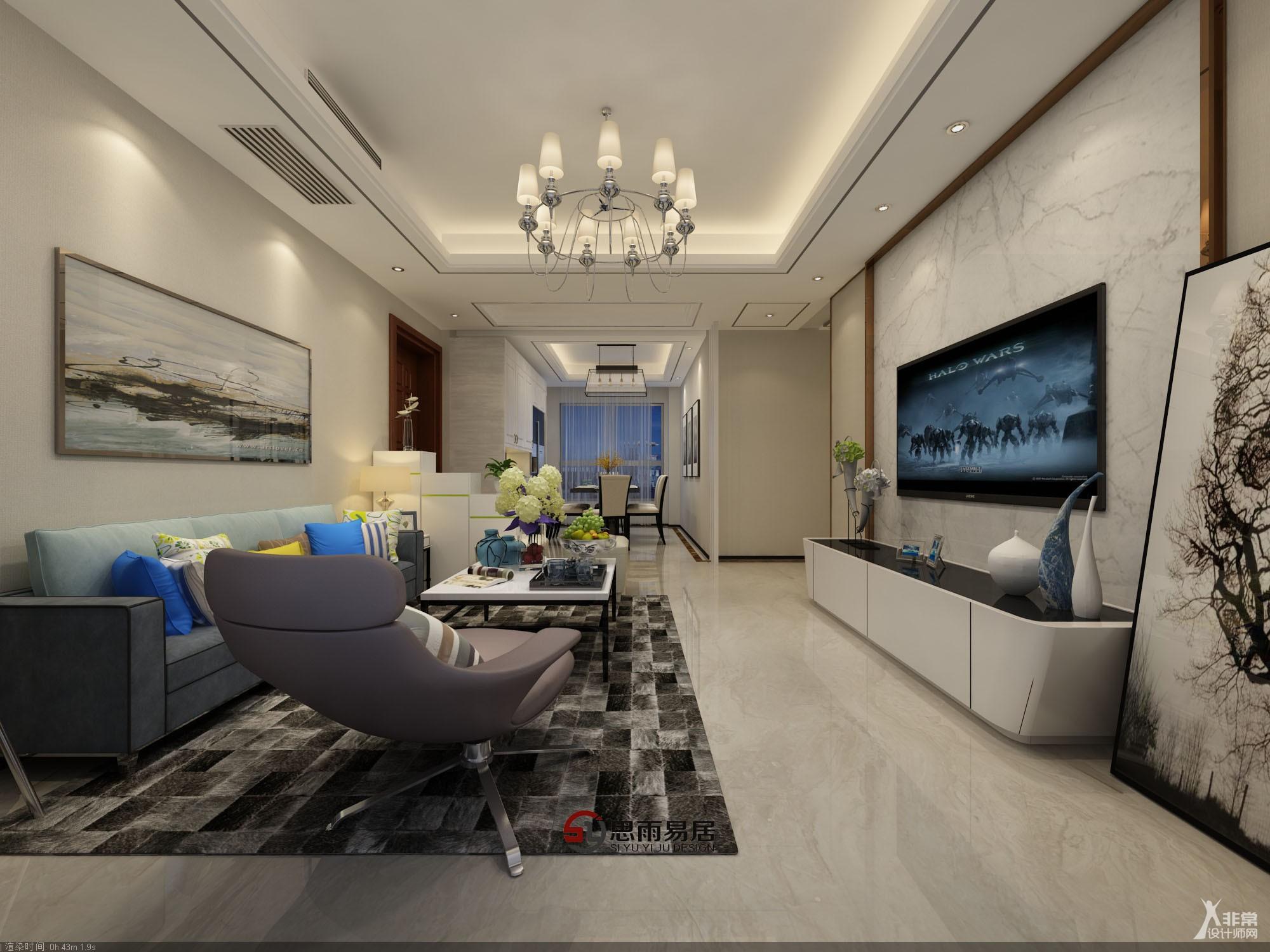 扬州君悦华府108平方米3居室现代风格装修案例《静》