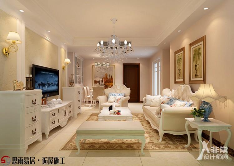 《盛夏晴天》扬州香榭里106平米简欧风格3居室设计装修案例