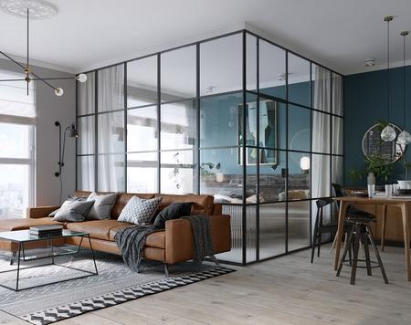 用玻璃作为卧室隔断,很香艳