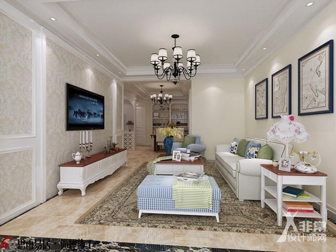 《悠然》扬州月城熙庭87平方米简欧风格2居室设计装修案例【思雨易居&逅屋施工】