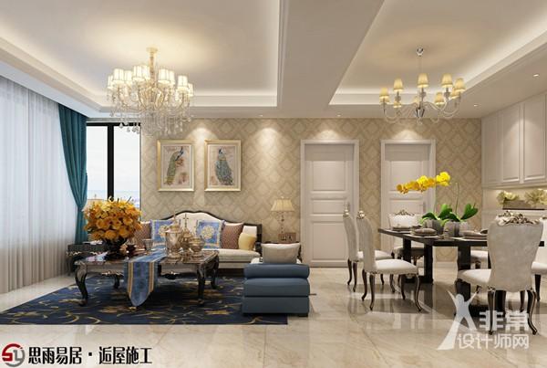 《浪漫满屋》扬州朗悦华府103平方米3居室简欧风格装修案例