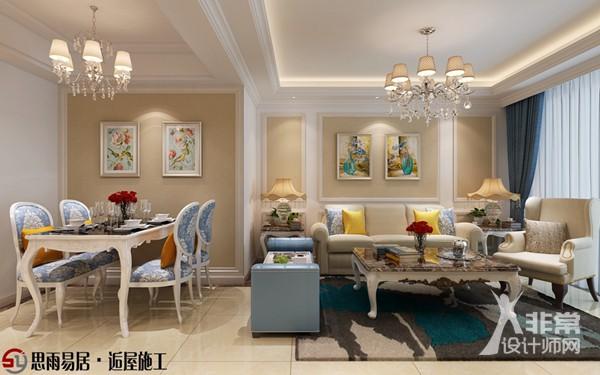 《花田半亩》扬州朗悦华府102平米3居室简欧风格装修案例