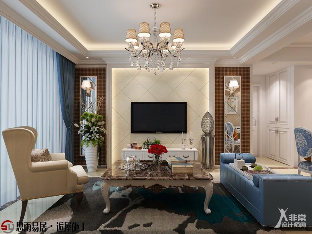 电视背景墙采用简单的线条象牙白大理石和马赛克来装饰电视背景,搭配