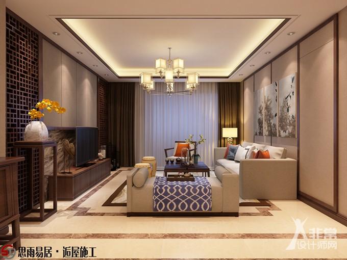 《雅韵》扬州朗悦华府125平方米3居新中式风格装修案例【思雨易居&逅屋施工】